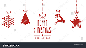christmas elements hanging red isolated background stock vector