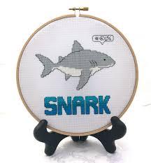 snarky cross stitch finished piece embroidery handmade shark