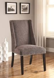side chairs living room coaster 902505 accent side chair wing back in grey fabric set of two