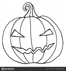 black and white cartoon evil muzzle pumpkin u2014 stock vector