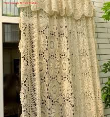 European Lace Curtains Handmade Crochet Flowers Woven Cotton Lace Curtains Beige Bed
