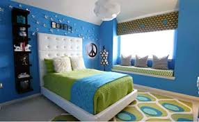 Bedroom Colors Ideas  Blue And Bright Lime Green Interior - Blue color bedroom ideas