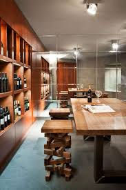 modern wine cellar with wood bar stools durable and elegant wood