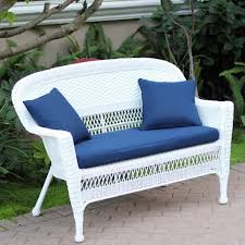 Cushions For Wicker Settee White Wicker Loveseat With Cushion And Pillows Free Shipping