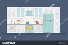 modern kitchen artwork design modern kitchen interior flat style stock vector 710817685