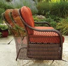 Patio Loveseat Glider Loveseat Glider Brown Wicker Steel Frame Orange Cushions Patio