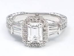 engagement rings with baguettes engagement ring emerald cut halo engagement ring baguette