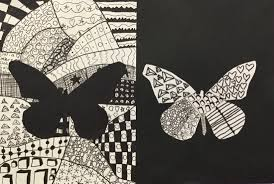 positive and negative space zentangle compositions