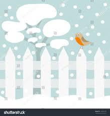 robin bird on fence winter garden stock vector 119364778
