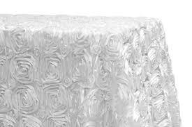 White Table Cloths Wedding Rosette Satin 90