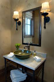 rustic paint colors bathroom industrial with black sconce bar