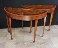 Console To Dining Table by Pair Walnut Demi Lune Console Tables Hepplewhite Regency Console
