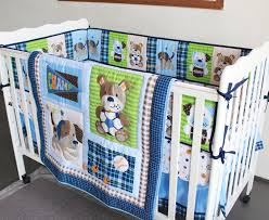 Blue Crib Bedding Set Promotion 7pcs Embroidered Cotton Baby Cot Bedding Set Newborn