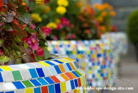 whimsical mosaic tile decorative garden wall