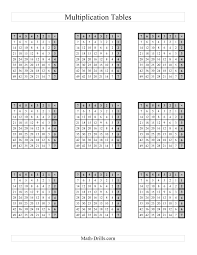 Times Table Worksheets 1 12 Left Handed Multiplication Tables To 49 Four Per Page A