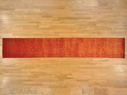 Orange Runner Rug 3 X 16 Xl Runner Tone On Tone Orange Kashan Knotted