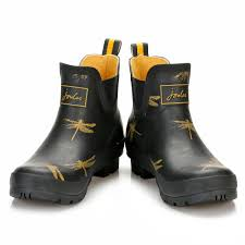 womens boots joules joules womens wellington boots black rubber dragonfly wellibob