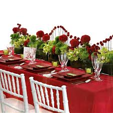 decorations romantic red table cloth with simple green candle