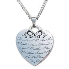 mothers necklace with names s heart necklace personalized with up to 5