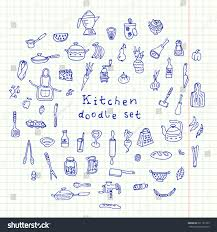 vector kitchen stuff doodle collection hand stock vector 291131765