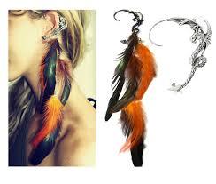 halloween earrings burning man dragon ear cuff feather ear cuff