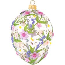 glass easter egg ornaments glass egg ornament with pink and purple flowers poland made