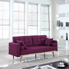 Modern Mid Century Sofa by Amazon Com Mid Century Modern Tufted Linen Fabric Sofa Purple