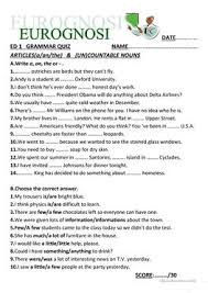 8 free esl countable uncountable worksheets