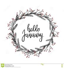 hello january lettering greeting card modern calligraphy