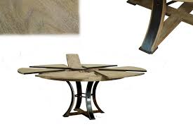 Industrial Pedestal Table Round To Round Transitional Gray Oak Jupe Table With Leaves