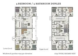 five bedroom floor plans 5 bedroom duplex the cottages of tempe