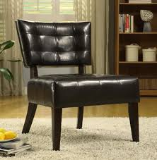 Faux Leather Accent Chair Oxford Creek Contemporary Armless Accent Chair In Brown Faux