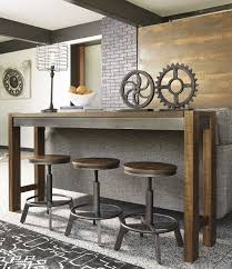 Endearing Torjin Brown And Gray Long Counter Height Dining Room Set