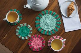 Knitting Home Decor Knitted Home Decor Promenade Coaster U0026 Trivet Set Knitting Daily