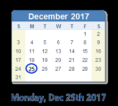 december 25 2017 calendar with info and count usa
