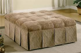 Skirted Ottoman Floral Pattern Fabric Skirted Ottoman W Accented Tufts