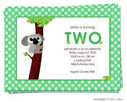 belle announces koala bear birthday invitation