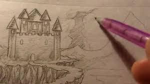 how to draw a castle landscape youtube