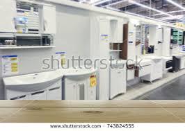bathroom furniture store defocused image foreground stock photo