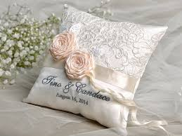 wedding pillow rings lace wedding pillow ring bearer pillow embroidery names lace