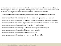 Nursing Home Resume Examples by Top 10 Nursing Home Admissions Coordinator Interview Questions And An U2026