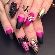 matte magenta n black coffin nails with bling nails pinterest