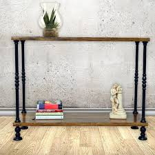Cottage Sofa Table Carolina Cottage Keegan Rich Chestnut And Black Metal Console