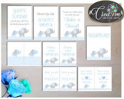 baby shower elephant table signs printable chevron blue elephant