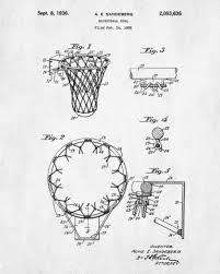 basketball hoop patent print sports blueprint art poster
