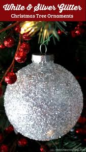 white silver glitter tree ornaments two