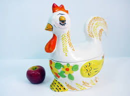 vintage ceramic rooster chicken hen hand painted italy 11 tall 2