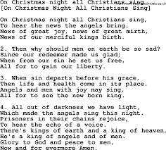 old english song lyrics for on christmas night all christians sing