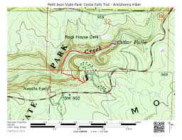 Ouachita Mountains Map Petit Jean Cedar Falls Trail U2013 2 Mi O U0026b Arklahoma Hiker