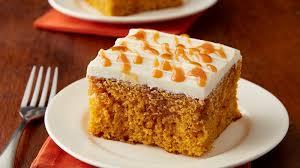 pumpkin caramel poke cake recipe bettycrocker com